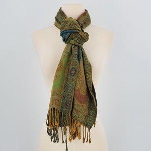 Medallion Green Blue Scarf Wrap Pashmina